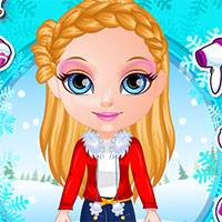 Игра Барби зимние косы
