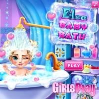Игра Уход за малышами - купание девочки Эльзы онлайн