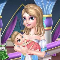 Игра Уставшая Эльза и ребенок онлайн