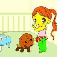 Игра Раскрась девочку и ее щеночка