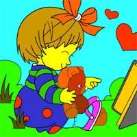 Игра Раскраска: Девочка с котом