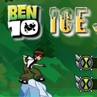 Игра Бен 10 прыгает по льдинам онлайн