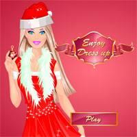 Игра Одевалка Новогодняя Барби