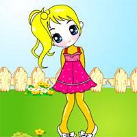 Игра Раскраска: Девочка в саду онлайн