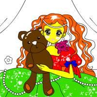 Игра Раскраска: Девочка с игрушками онлайн